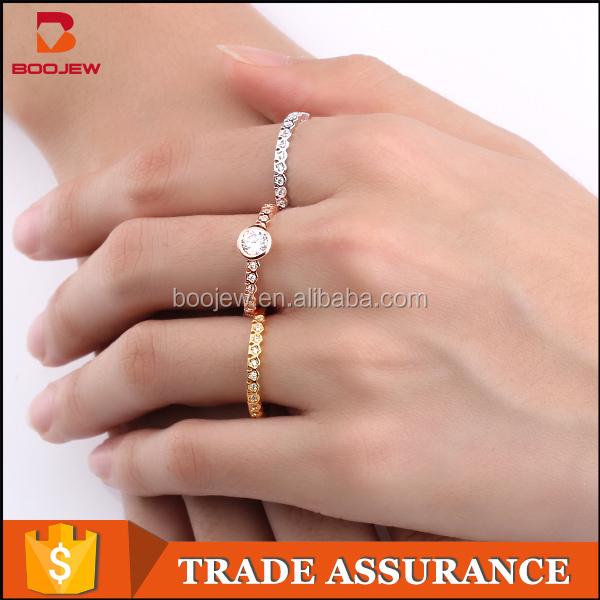 Three finger jewel natural stone saudi arabia gold wedding ring