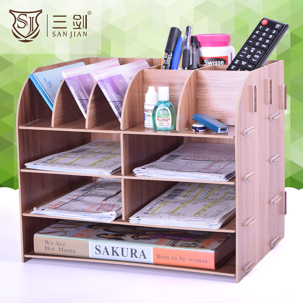 Factory Direct Supply Büro Schulbedarf Holz Mesh Desktop Organizer