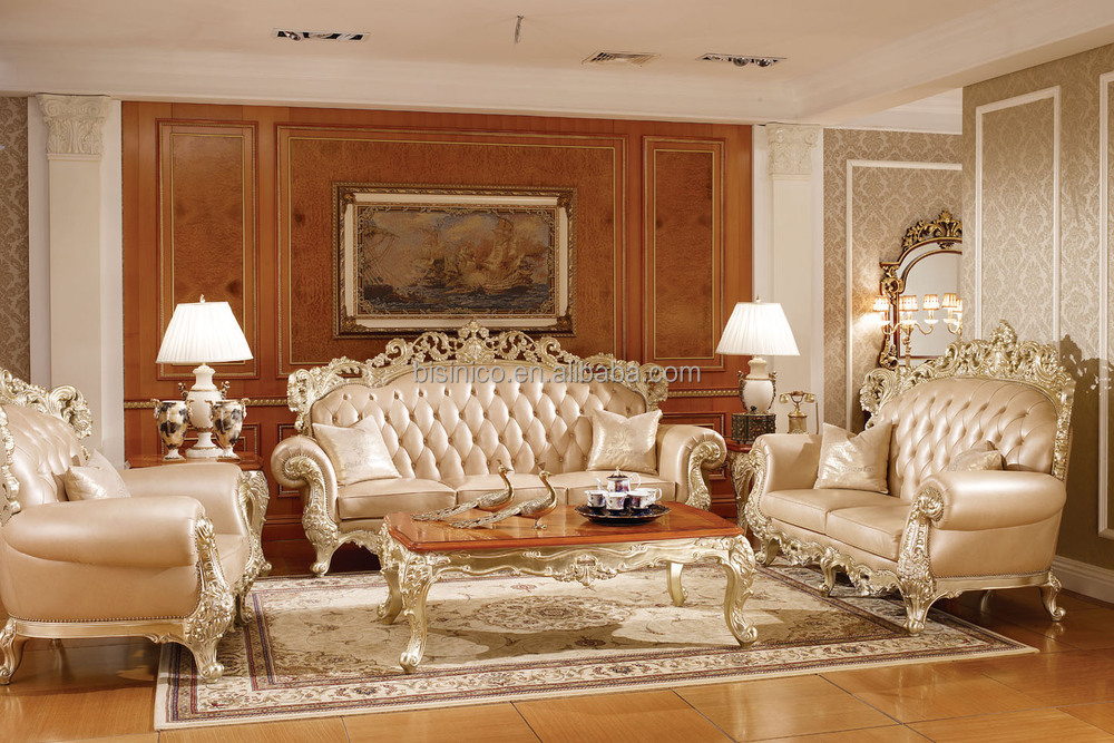 Victoria Style Solid Wood Carved Sofa Set Luxury Chesterfield