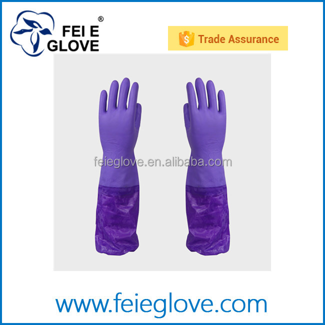 cheap extra long purple full arm warm PVC household gloves