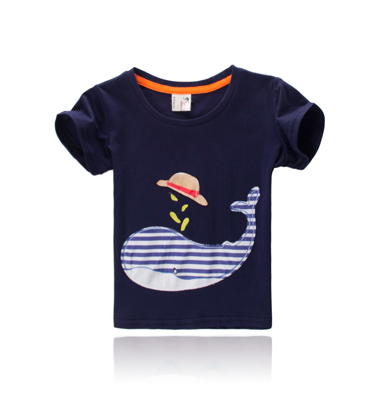 2015 casual style cute printed kids black t shirt for 2-8 years old kids