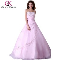 2015 Grace Karin Pink Organza Sweetheart Charming Bridal Wedding Dress CL4523