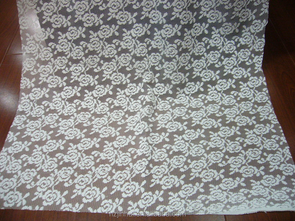 100% Polyester Lace Curtain Fabric,New Rose Pattern Clothes - Buy ...