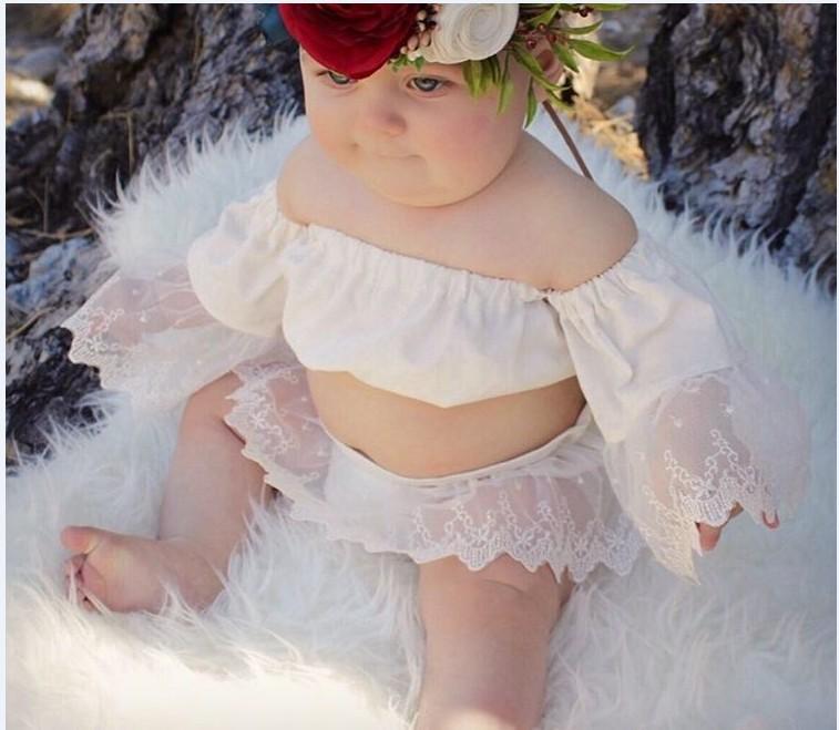 recin nacido de la muchacha nios ropa establece lindo beb nias hombro tops de encaje cortos