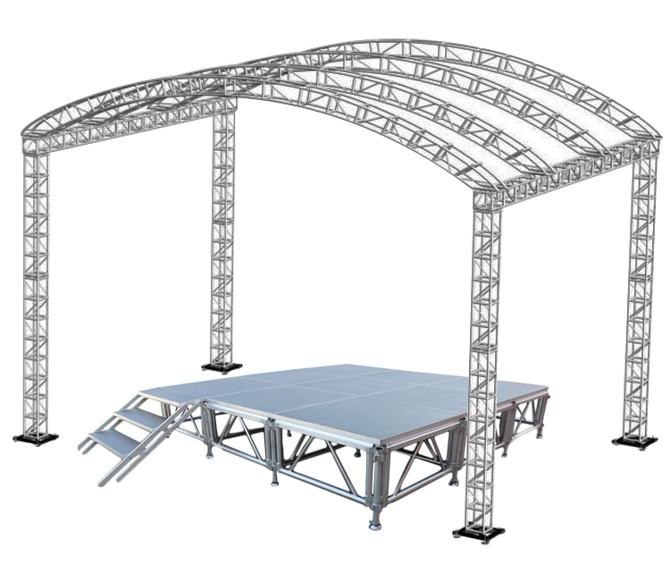 factory designed roof truss with portable <strong>stage</strong> system with stairs