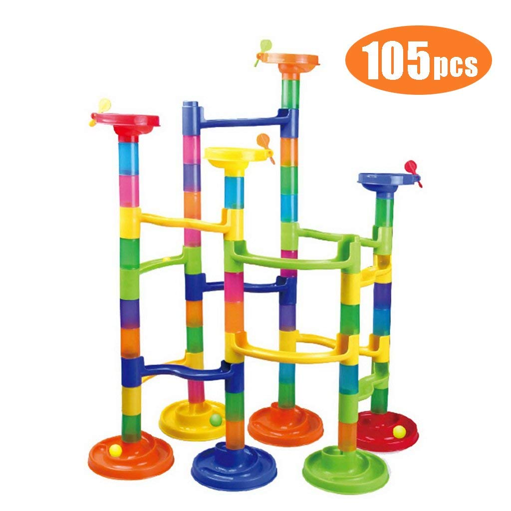 Shinehalo K20 105pcs Marble Run Super Set Construction Building Blocks Toys, STEM Learning Toy, 3D Construction Child Educational Creative Building Blocks Set, Marble Games for Kids