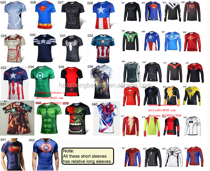 Hot Sale Super Hero Spider Man& Captain AmericaT- Shirt ;Short Sleeve Compression Shirt