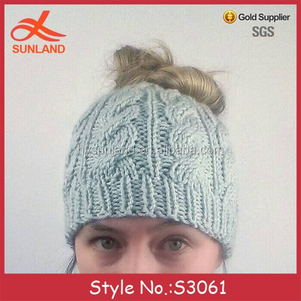 S3061 new crochet running ponytail hats top knot hat knit messy bun beanies  for all hair c5290b21ee51