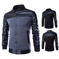 New high quality men's PU leather splicing jackets