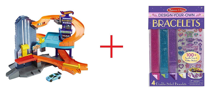 Hot Wheels Speedtropolis Playset and Melissa & Doug Design-Your-Own Bracelets - Sticker Style Braclets - Bundle