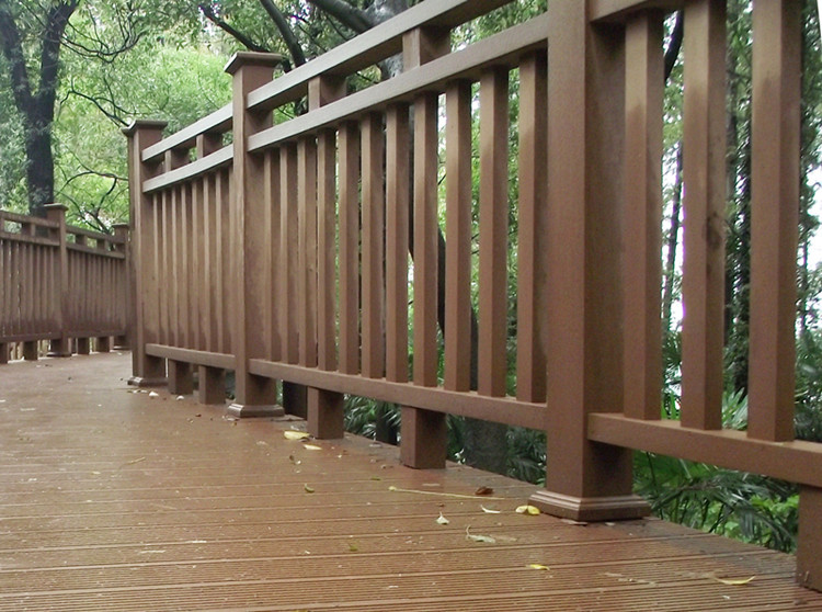 Timber like waterproof products handrail bar weather for Timber decking handrail