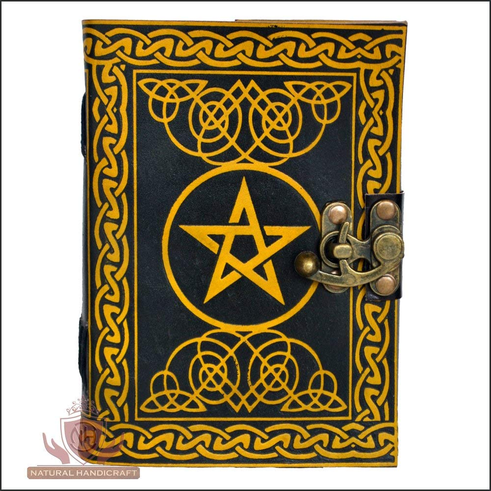 Handmade Leather Journal Pentagram Embossed Pentacle Wicca Pagan Notebook Personal Organizer Diary Office Supplies Daily Planner 5(L) x 7(H) Inches (Small 5(L) x 7(H) Inches, Yellow & Black, 1)