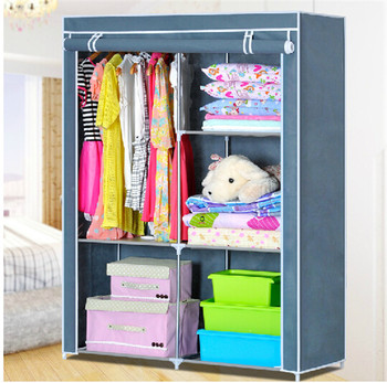Assemble Plastic Portable Clothes Wardrobe With Wheels