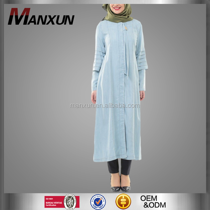 Light Blue Fashion Denim Turkish Women Tunic Unique Designer Dubai Abaya