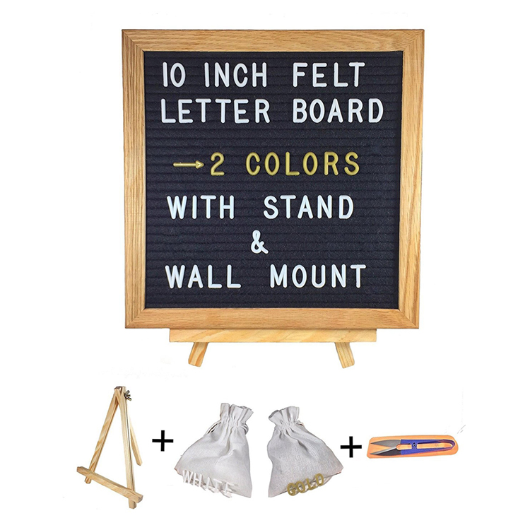 China Wholesale 10x10 Zoll Message Black Felt Letter Board mit Oak Frame Stand