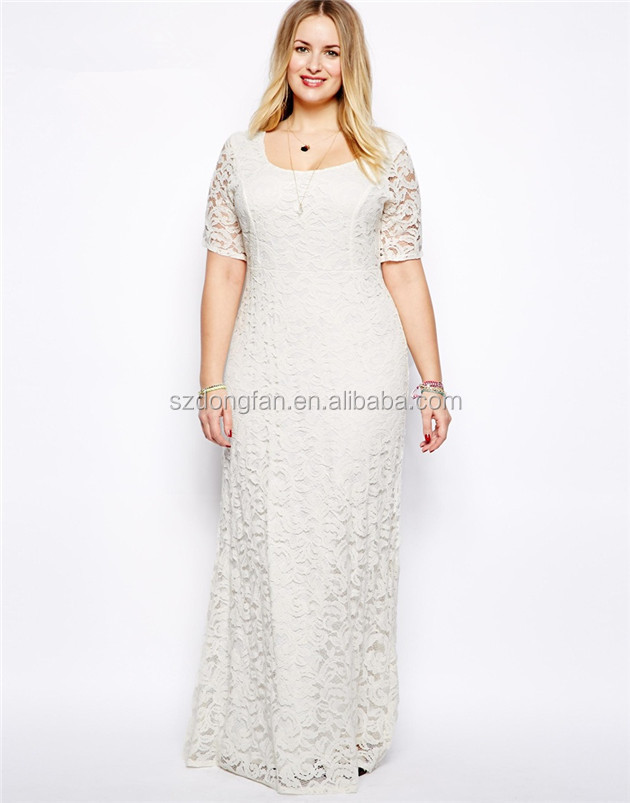 2016 Normal Frock Designs White Lace Dress Fabric Plus Size