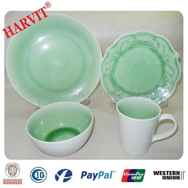 truquoise vert roscher bleu crackle verre vaisselle 16 pc vaisselle en gr s ensemble service. Black Bedroom Furniture Sets. Home Design Ideas
