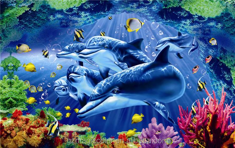 3d underwater world blue ocean paper murals for indoor for Mural hidupan laut