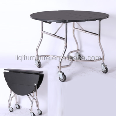 Hotel Room Service Folded Dining Table Stainless Steel Frame ST83021