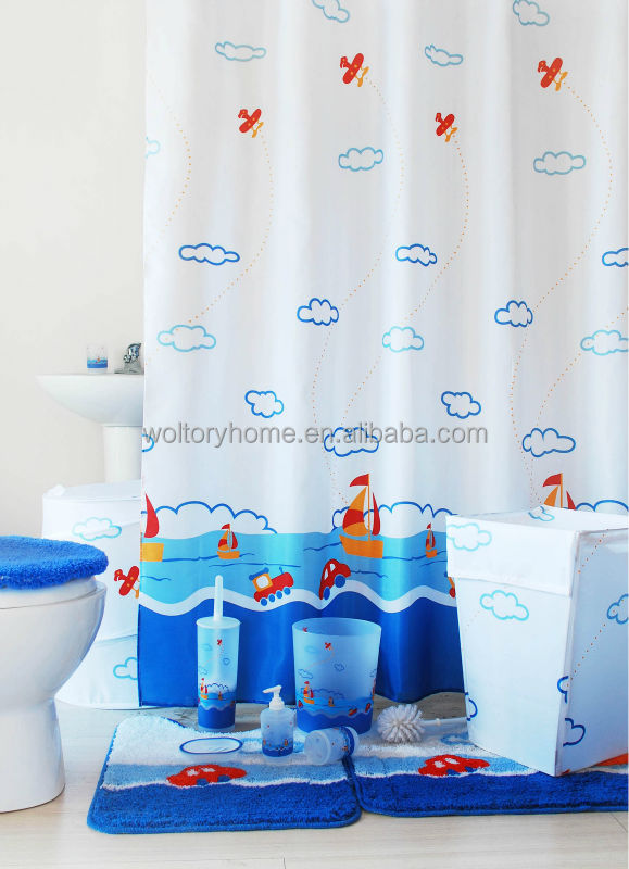 Hot Sale Bathroom Set Shower Curtain And Matching Pp Bath