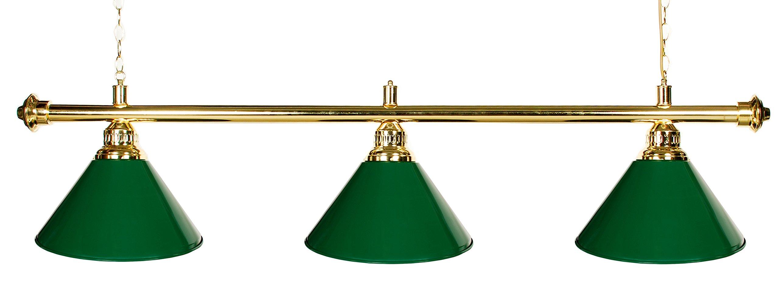"61"" Pool Table Light - Billiard Lamp Brass Rod Choose Burgandy, Green or Black Metal Shades (brass green)"
