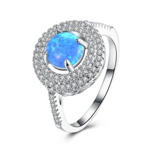 SJ 2018 jewelry wholesale china GEM030 platinum plating round cut white mircopave AAA CZ halo style blue opal engagement ring