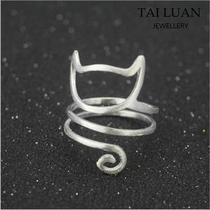 Animal shaped rings lovely cat jewelry ring fashion sprial animal ring