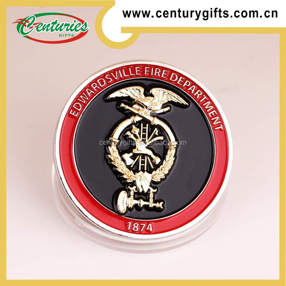 High quality custom silver metal plated challenge coin, the theme of fire department, various designs are available