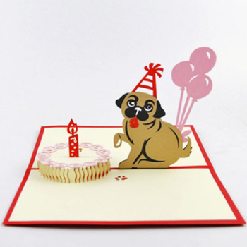 Qubiclife cute pet birthday cake dog creative handmade 3d popup card