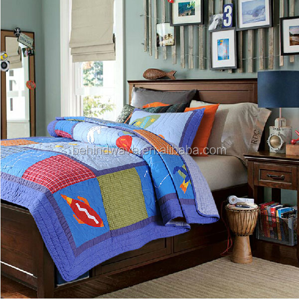 Cotton Applique Sky Adventure Bed Sheet Set Blanket