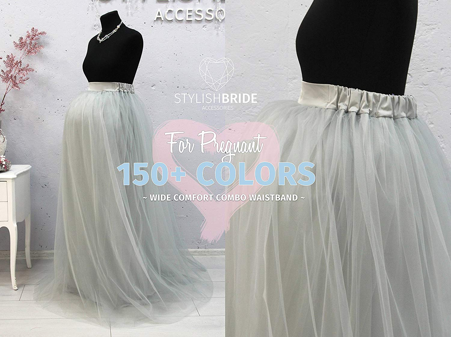 551de8d3a2 Get Quotations · Maternity Long Tulle Skirt, Floor length skirts for  pregnant woman, Tulle Skirt Grey Blue