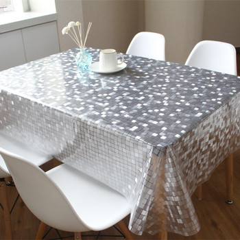 cheap price embossed surface transparent disposable plastic table covers