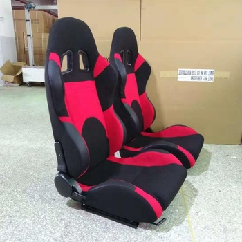 FULLY RECLINABLE BLACK/RED CLOTH UPHOLSTERY BUCKET RACING SEAT+SLIDER RAIL RIGHT UNIVERSAL CAR SEATS