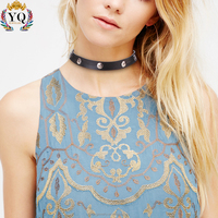 NYQ-00519 gothic style silver plated star hollow leather choker necklace