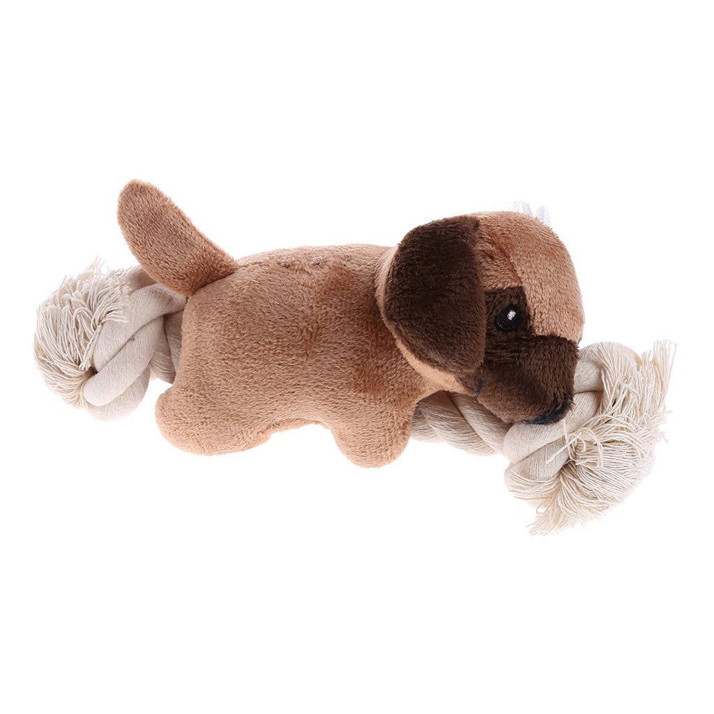 NNDA CO Puppy Dog Pet Toy Cute Soft Stuffed Squeaker Sound Toy Bear Plush Chew Chewing,22x6x12cm9,1 Pc(Light Brown)