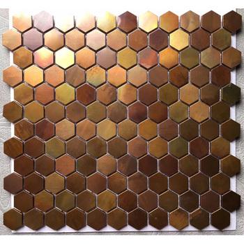 Rose Gold Copper Backsplash Hexagon Shape Mosaic Wall Tile