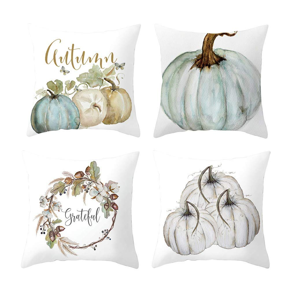 4Pcs Pillow Cases, E-Scenery Clearance Sale! Halloween Square Decorative Throw Pillow Covers Cushion Cases for Sofa Bedroom Car Home Decor, 18 x 18 Inch