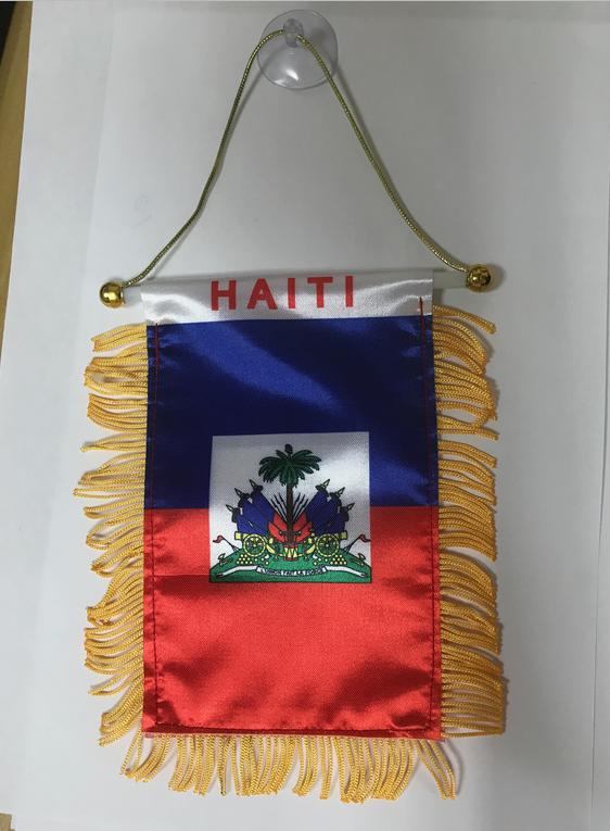 HAITI REAR VIEW MIRROR WORLD FLAG CAR BANNER PENNANT