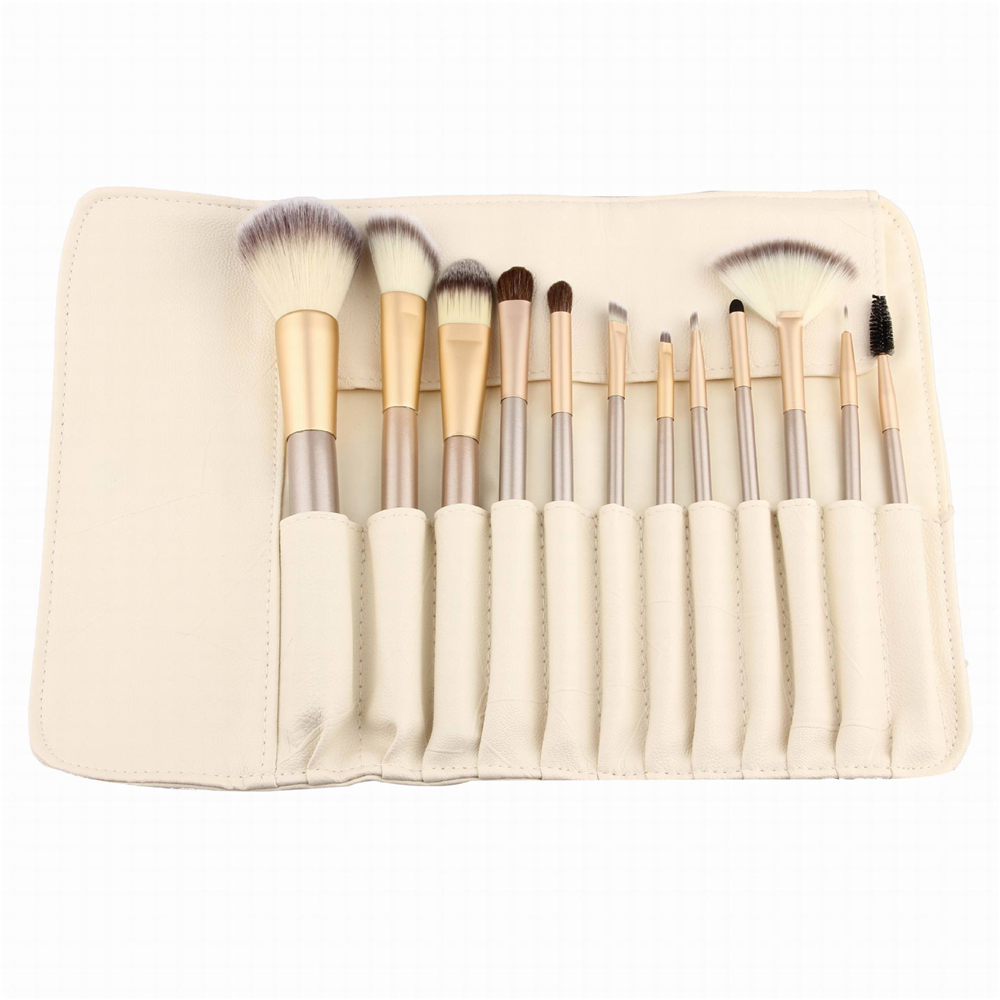Bona 12Pcs Pro Soft Cosmetic Make up Brush Set Case Oval Makeup Brush Set