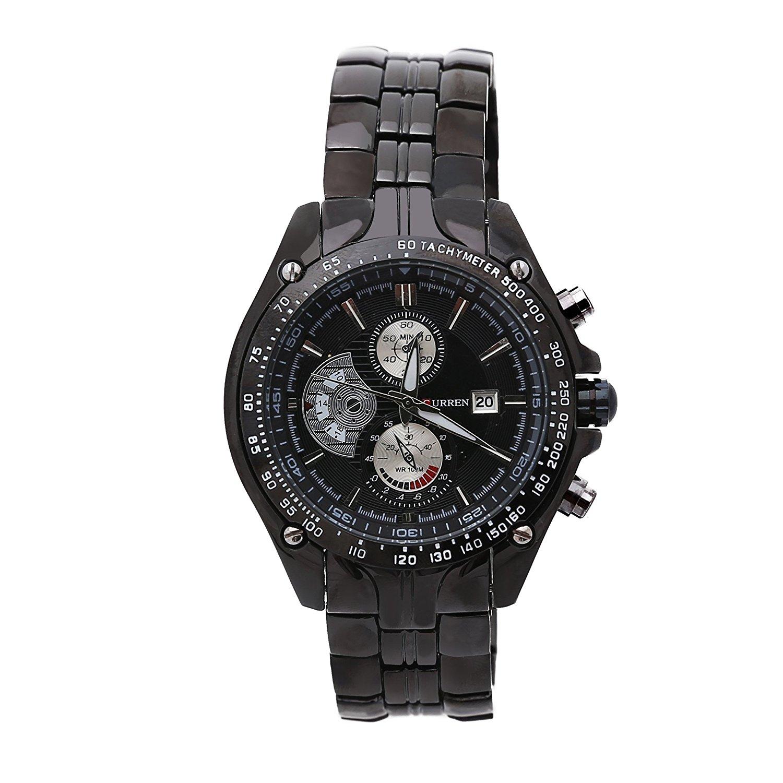 Stainless Steel Luxury Sport Curren Clock Mens Wrist Watch Analog Quartz Black