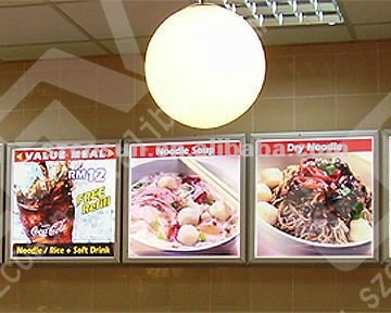 fast food retail store menu display aluminum frame slim light box