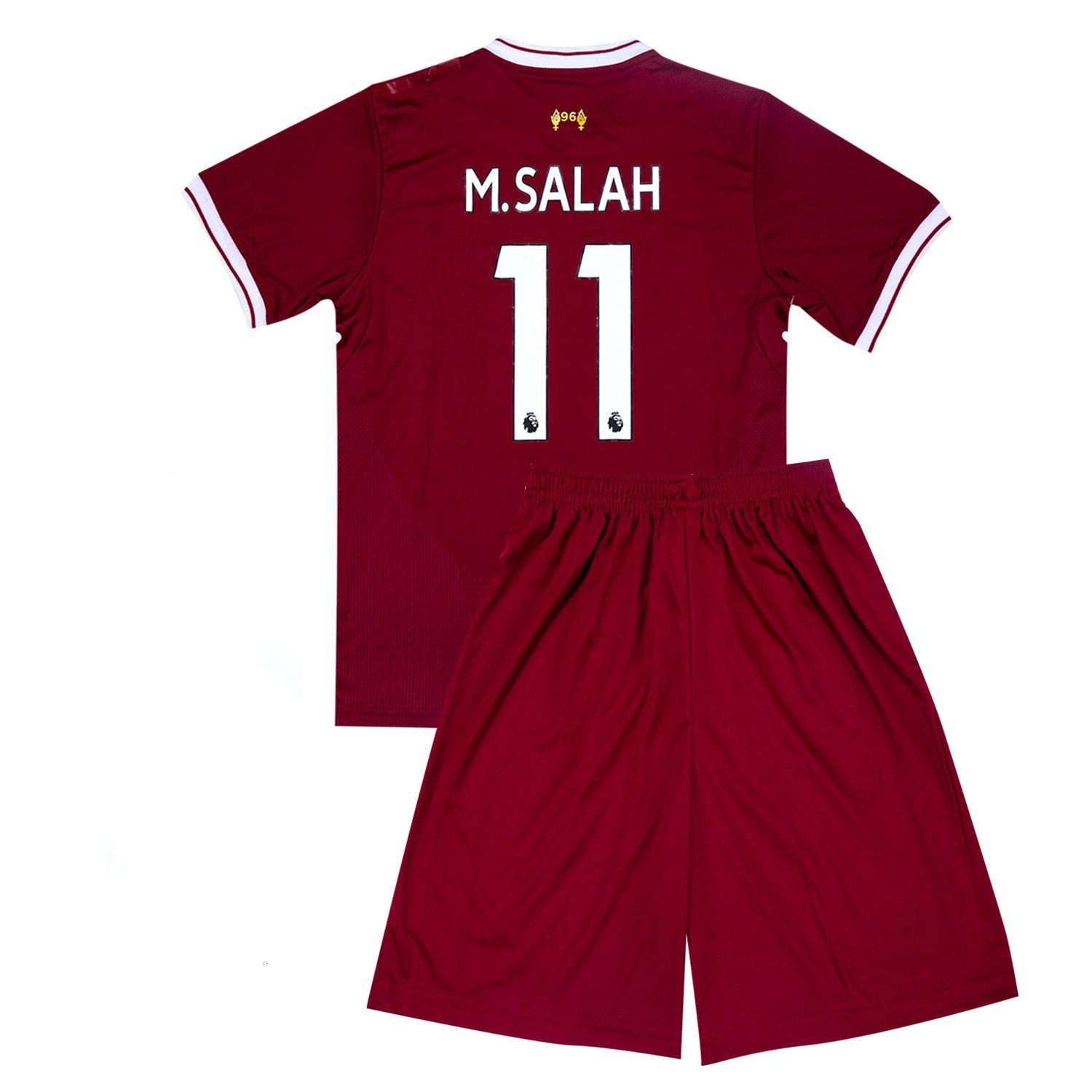 ac52442778b Get Quotations · 11 M Salah Liverpool Home Soccer Jersey Youth Kids 2017-2018  Red