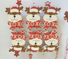 Christmas Wooden Peg for Decoration with bear printing Wooden xmas clips gifts