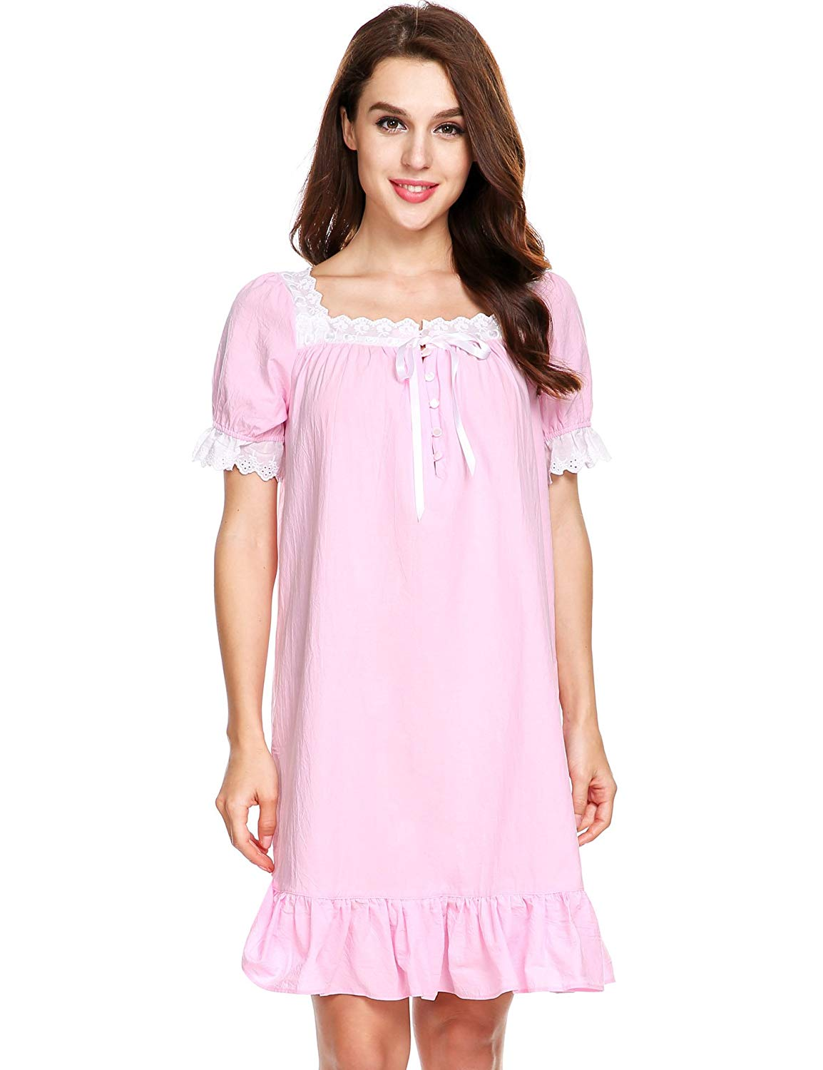 17e0cd0324 Get Quotations · Avidlove Womens Cotton Victorian Vintage Short Sleeve White  Classic Nightgown Sleepwear