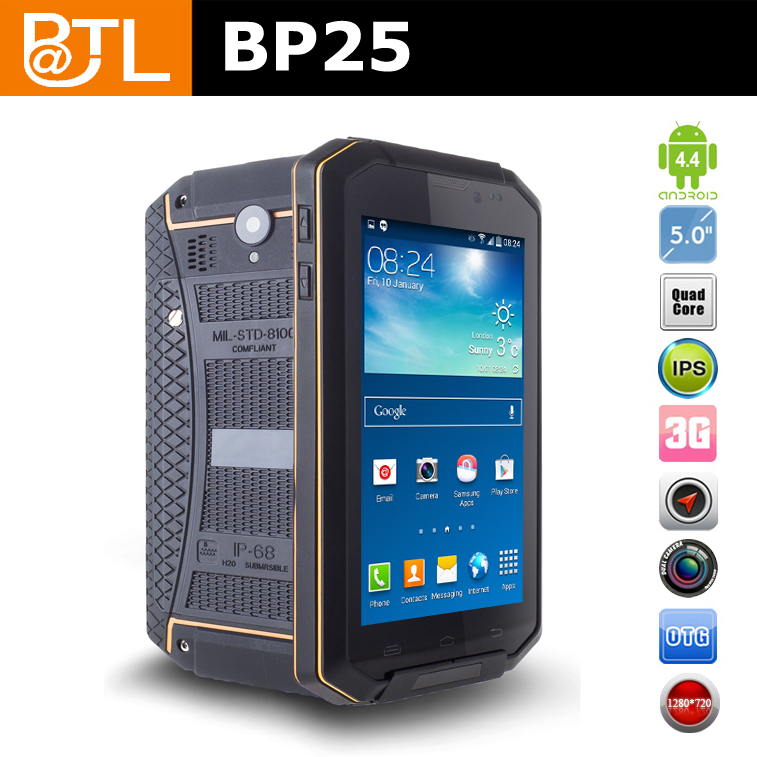 BATL BP25 water proof shock proof cell phone for 5.0inch sunlight readable quad core android 4.4.2 3G WIFI