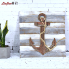 Painted Ship Decoration Wood High Quality Sea Style Ship Spear Wood Art For Home Decoration