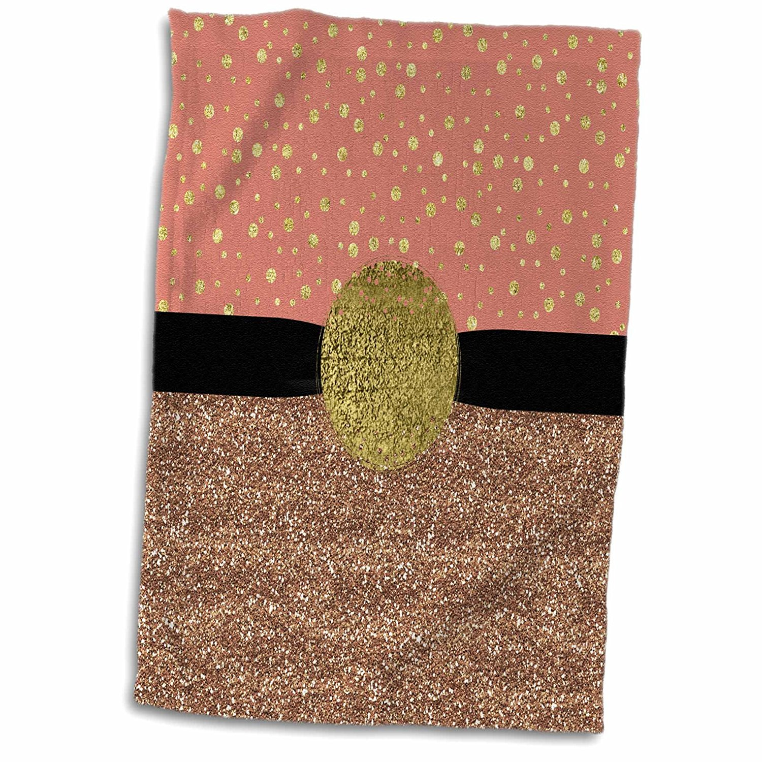 3dRose Anne Marie Baugh - Glitter and Chic - Contemporary Pink and Gold Confetti Dots, Glitter, Gold Circle - 15x22 Hand Towel (twl_267786_1)