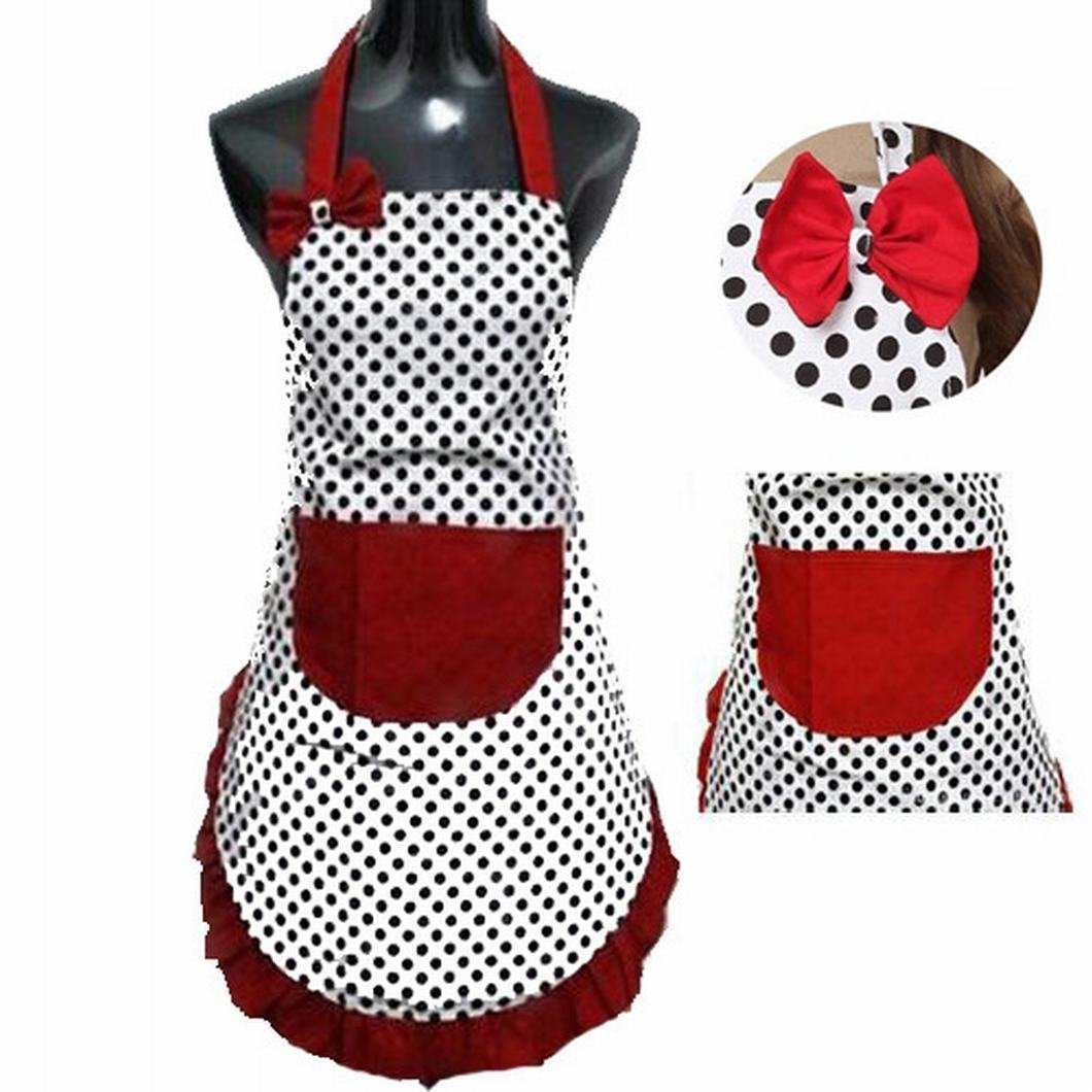 DZT1968 Cute BowKnot Lady's Girls Kitchen Restaurant Bib Cooking Aprons With Pocket for Women Vintage Apron Bib Chef Cooking Waitress (Black)