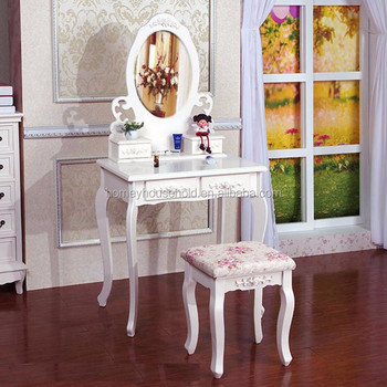 French Style Girls Makeup Dresser White Painted Dressing Stool Antique Dressing  Table