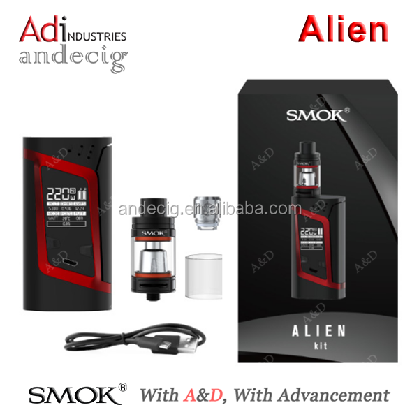 100% Original SMOK Alien Kit 220w Alien Mod & 3ml TFV8 Baby Tank e cigarette Wholesale price with Fast Shipping
